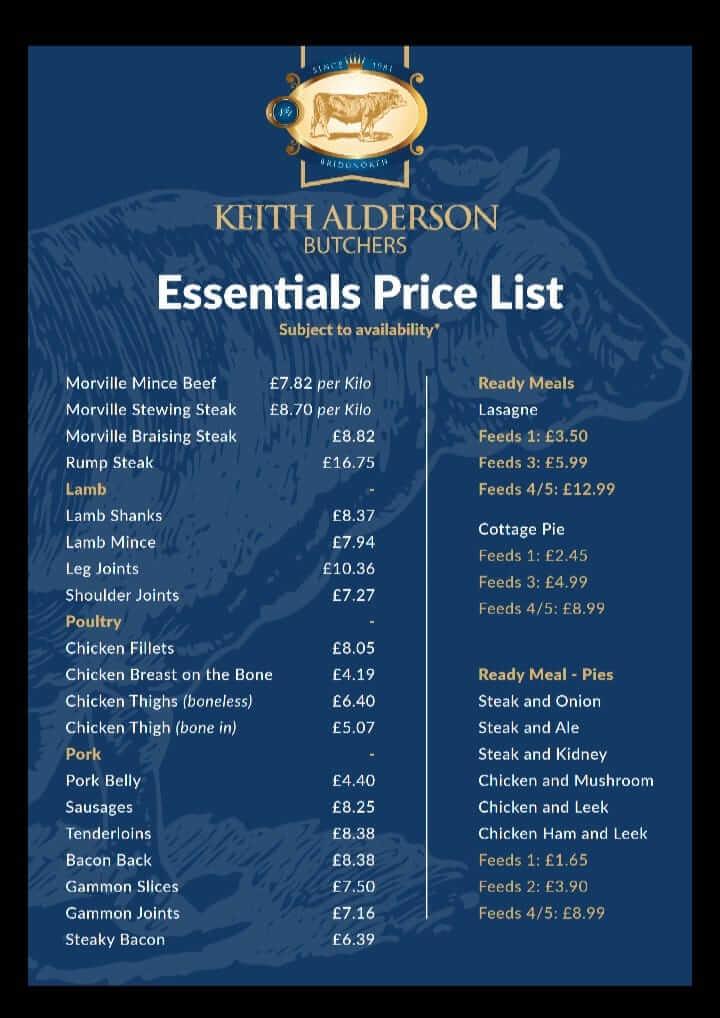 Keith Alderson Essentials Pirce list